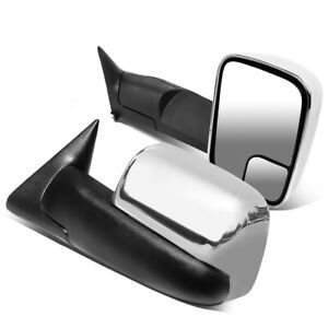 Fit 94 02 Dodge Ram Truck Pair Chrome Cover Manual Flip Up Tow Towing Mirror