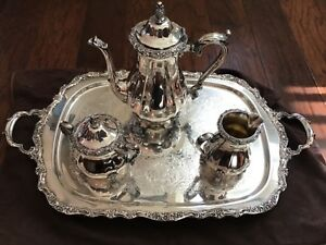 International Silver Plated Countess Coffee 4 Piece Set Monogrammed Tray T