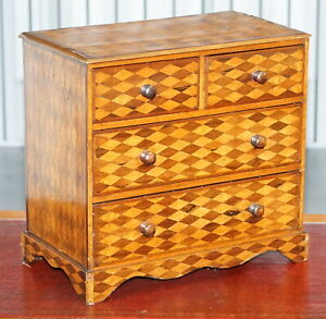 Circa 1740 Continental Mahogany Satinwood Parquetry Miniature Chest Of Drawers