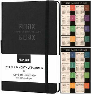 Planner 2019 2020 academic Weekly monthly Planner saffiano Leather W pen Holder