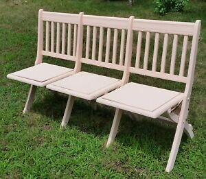 Antique Folding Deck Chair Triple Seat Wood Chair Bench Adult Size