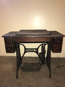 Rare Antique Singer 5 Drawer Sewing Machine Cabinet With Treadle And Accessories