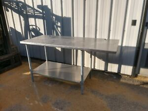 6 Foot Stainless Steel Table With Stainless Bottom Shelf