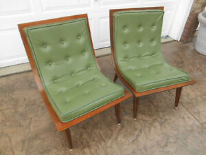 Pair Vintage Mid Century Modern Carter Brothers Scoop Chairs Circa 1958