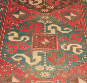 Antique Caucasian Kazak Cloudband Rug