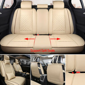Updated Car Seat Cover Set Protector Front Rear Split Bench Beige Sweatproof