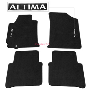 Fits 07 12 Nissan Altima 4dr Black Nylon Floor Mats Carpets W Altima Embroidery