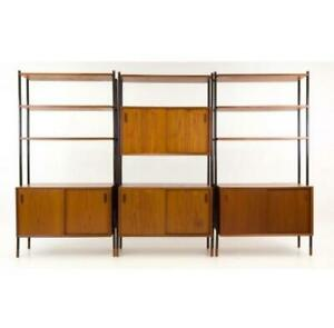 Vtg Mcm Lyby Mobler Danish Teak Freestanding Wall Unit Shelves 1960s