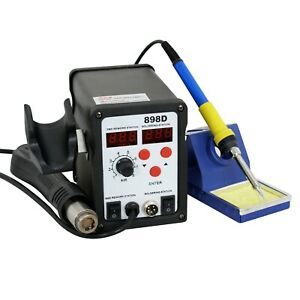 898d 2 in 1 Electric Smd Soldering Station Hot Air Heat Gun 110v With 11 Tips