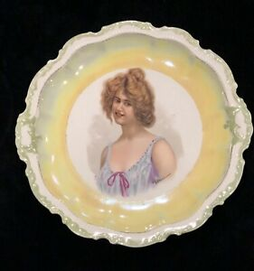 Antique Empire China E Vettori Signed Gibson Girl Porcelain Portrait Plate 682
