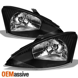 Fit 2000 2001 2002 2003 2004 Ford Focus Lh Rh Black Headlights Assembly