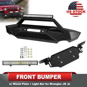 Texture Front Bumper W Winch Plate 20 Led Light For Jeep Wrangler Jk Jl 07 Up