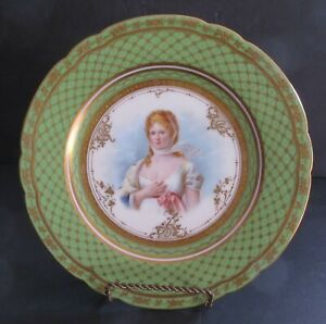 Ambrosius Lann Hp Portrait Plate Queen Louise Of Prussia Heavily Gilded