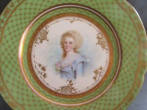 Ambrosius Lann Hp Portrait Plate Elisabeth Of France Heavily Gilded