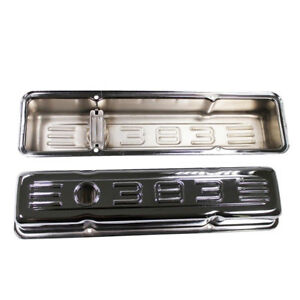 Chrome 383 Logo Short Valve Covers For 58 86 Sbc Chevy Small Block 283 327 350