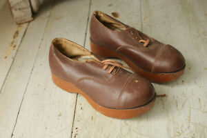 Antique Small Shoes French Work Wear Brown Leather Wooden Sole 1910 To 1920