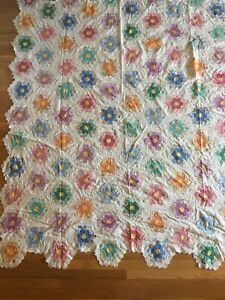 From The 30s Handstiched Grandmother S Flower Garden Quilt Top Exec Vtg Condtion