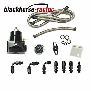 Black Adjustable Fuel Pressure Regulator Gauge Kit An 6 Fitting End Universal