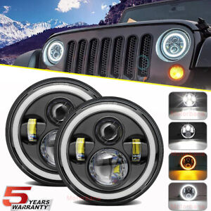 Dot 7 In Led Headlights H4 Round Halo Projector Turn Signal For Jeep Wrangler Jk