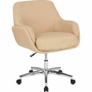 Rochelle Home And Office Upholstered Mid back Chair In Beige Fabric