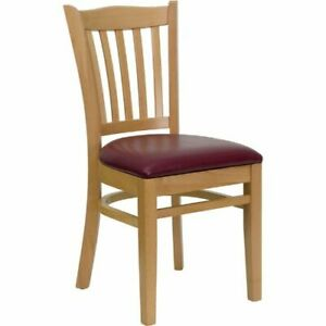 Hercules Series Natural Wood Finished Vertical Slat Back Wooden Restaurant Chair