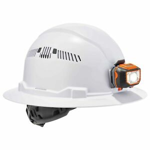 Ergodyne Skullerz Vented Full Brim Hard Hat With Led Light White