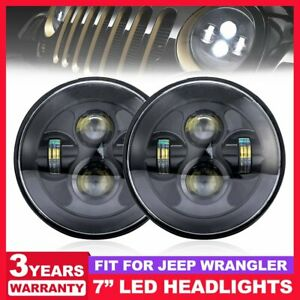 Pair 7inch Round Led Headlight Sealed Hi lo Beam Fit For Jeep Wrangler Jk Lj Tj