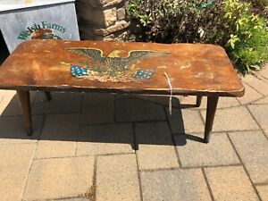 Antique American Eagle Wood Bench Step Stool Seat Decor Old Wooden Americana