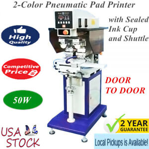 Us Stock 50w 2 color Pneumatic Pad Printer With Sealed Ink Cup And Shuttle