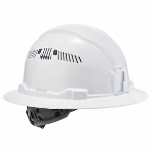 Ergodyne Skullerz Vented Full Brim Hard Hat With 4 Point Suspension White