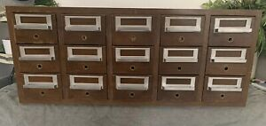 Vintage 15 Drawer Gaylord Library Card Catalog Cabinet Stacking Unit