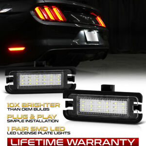 2015 20 Ford Mustang S550 Brightest White Led License Plate Light Housing Pair