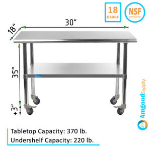 Stainless Steel Work Table W Casters 18 X 30 Food Prep Nsf Utility Bench