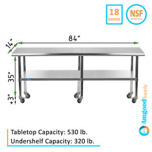 Stainless Steel Work Table W Casters 14 X 84 Food Prep Nsf Utility Bench