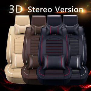 Universal Deluxe 5 seats Car Seat Cover Front Rear Pu Leather Cushion Full Set