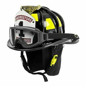 Cairns N6a Houston Leather Firefighter Fire Helmet With Brass Eagle Black