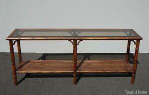 Vintage French Country Two Tier Brown Oak Side Table W Cane Shelf Entry Table