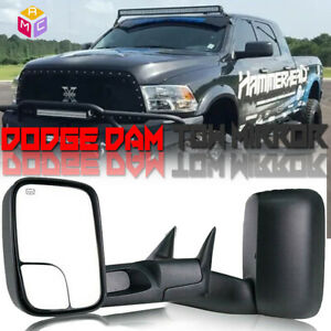 Pair Power Heated Flip Up Tow Mirrors Fits 1998 2001 Dodge Ram 1500 2500 3500