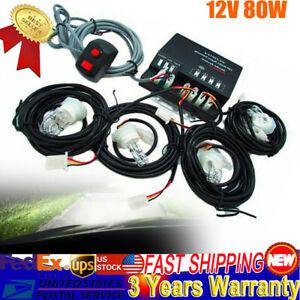 80w White 4 Hid Bulbs Hide Away Emergency Hazard Warning Flash Strobe Lights Us