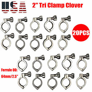 2 Tri Clamp Clover Sanitary Fits 64mm Od Ferrule 304 Stainless Steel 20pcs New