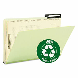Smead Pressboard Mortgage File Folder With Dividers Metal Tab Legal Green 10