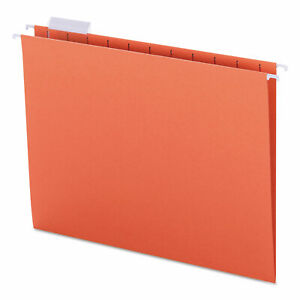 Smead Hanging File Folders 1 5 Tab 11 Point Stock Letter Orange 25 box 64065