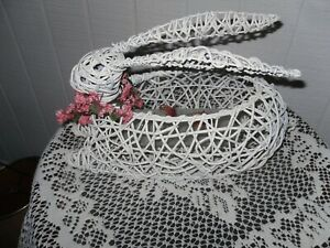 Vintage White Wicker Bunny Country Shabby Chic Decor
