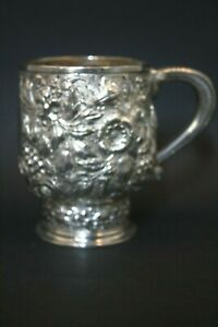 Antique Stunning 19thc Sterling Silver Tiffany Co Embossed Handle Mug Cup