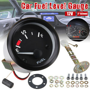 Universal 2 52mm Car Fuel Level Gauge Meter With Fuel Sensor E 1 2 F Pointer