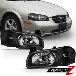 For 00 01 Nissan Maxima Factory Style Black Headlight Lamp Direct Replacement