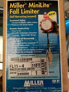 Miller Minilite Fl11 2 Fall Limiter Self Retracting Safety Lanyard New 11 Ft