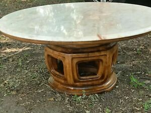 Vintage Wieman Marble Coffee Table Asian Pagoda Base Solid Wood Signed