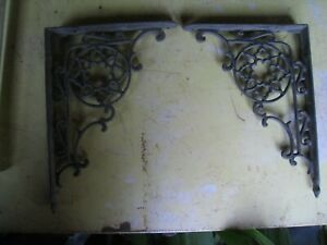 Vintage Pair Ornate Black Wrought Iron Scrolling Shelf Brackets 9 1 2 By 7