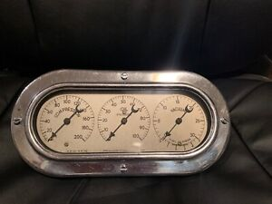 Vintage Us Gauge Crescent Needle Cluster Instrument Oil Vacuum Hotrod Scta Dash